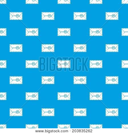 Mail envelope with a stamp pattern repeat seamless in blue color for any design. Vector geometric illustration