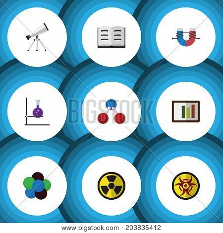 Flat Icon Knowledge Set Of Lecture, Irradiation, Scope And Other Vector Objects