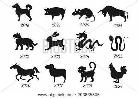 Chinese horoscope zodiac animals. Vector symbols of year. Chinese zodiac, animals horoscope illustration