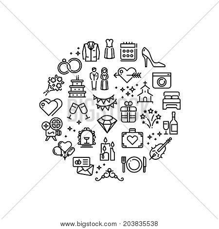 Wedding party fun outline vector icons. Marriage celebration, wedding badge round with collection of line icons illustration