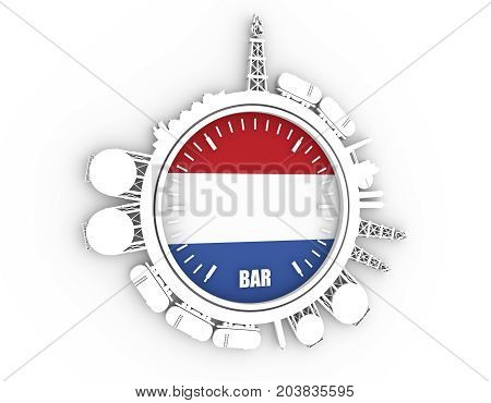 Circle with energy relative silhouettes. Design set of natural gas industry. Objects located around the manometer circle. 3D rendering. Flag of the Netherlands