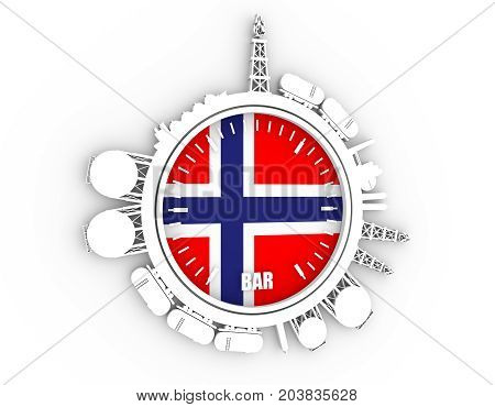 Circle with energy relative silhouettes. Design set of natural gas industry. Objects located around the manometer circle. 3D rendering. Flag of the Norway