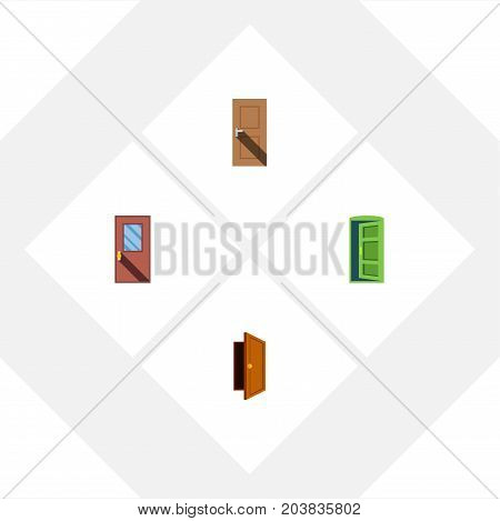 Flat Icon Door Set Of Entry, Entrance, Frame And Other Vector Objects