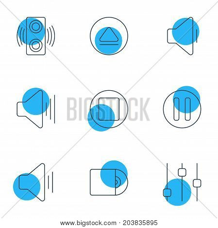 Editable Pack Of Compact Disk, Rewind, Decrease Sound And Other Elements.  Vector Illustration Of 9 Melody Icons.