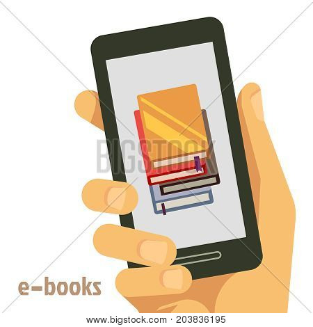Flat e-books concept with smartphone in hand. E-book library on smartphone device, vector illustration