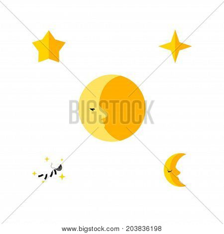 Flat Icon Night Set Of Lunar, Starlet, Moon And Other Vector Objects