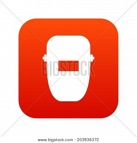 Welding mask icon digital red for any design isolated on white vector illustration