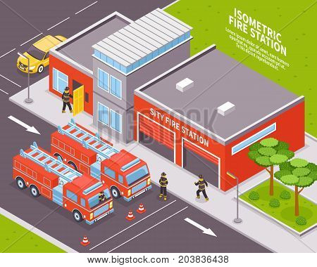 Isometric fire department station with two engines 3d vector illustration