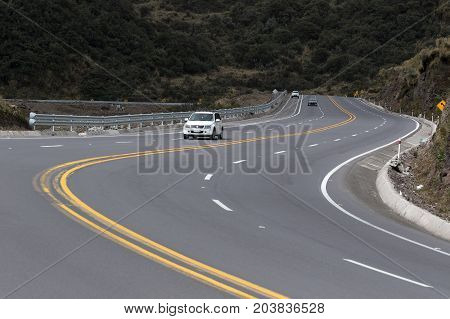 June 2 2017 Quito Ecuador: multi lane highway in the Andes of Ecuador form Quito to Papallacta