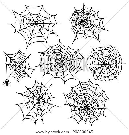 Halloween spider web vector set. Cobweb decoration elements isolated on white background