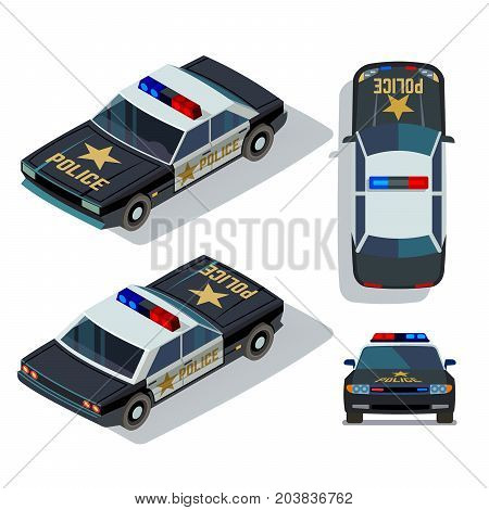 Vector flat-style cars in different views. Isometric police car transport patrol top and front view illustration