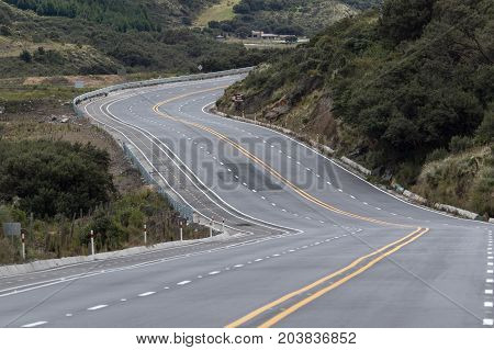 multi lane highway in the Andes of Ecuador form Quito to Papallacta