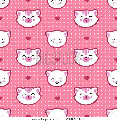Cat and kitten faces vector seamless pattern. Child t shirt design. Background seamless with cat and heart illustration