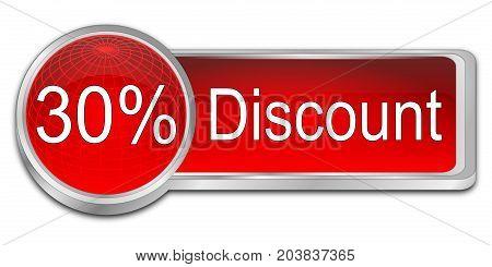 decorative red 30% Discount button - 3D illustration