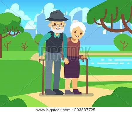 Happy cartoon older female in love outdoors. Old couple in park vector illustration. Couple senior together in green park