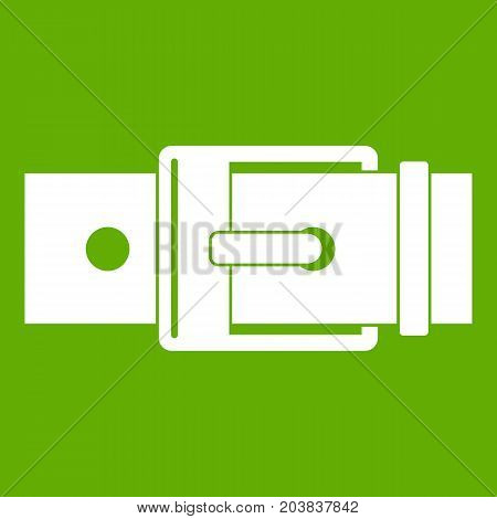 Belt with square buckle icon white isolated on green background. Vector illustration