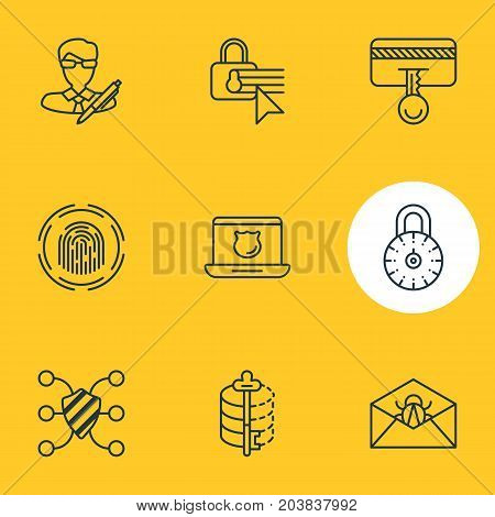 Editable Pack Of Confidentiality Options, Finger Identifier, Encoder And Other Elements.  Vector Illustration Of 9 Security Icons.