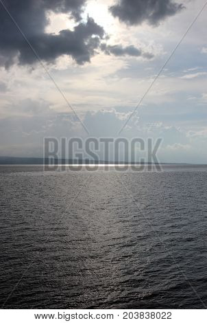 The Sun Is Reflected In The Calm Ocean. Philippines