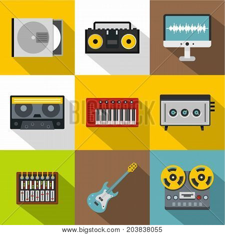 Sound producing icon set. Flat style set of 9 sound producing vector icons for web design