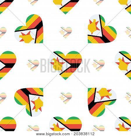 Zimbabwe Flag Heart Seamless Pattern. Patriotic Zimbabwe Flag Background. Country Flag In The Shape