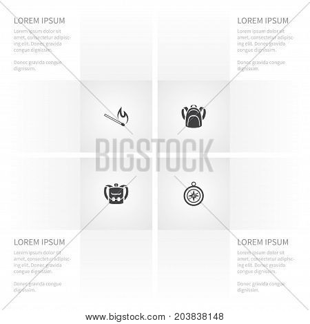 Icon Camp Set Of Matchstick, Knapsack, Device And Other Vector Objects