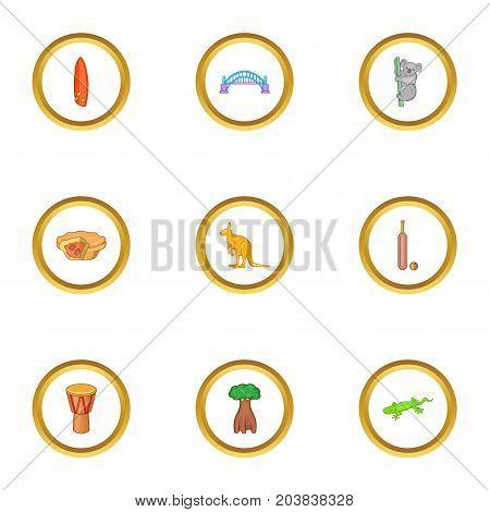 Sydney zoo icons set. Cartoon set of 9 Sydney zoo vector icons for web isolated on white background