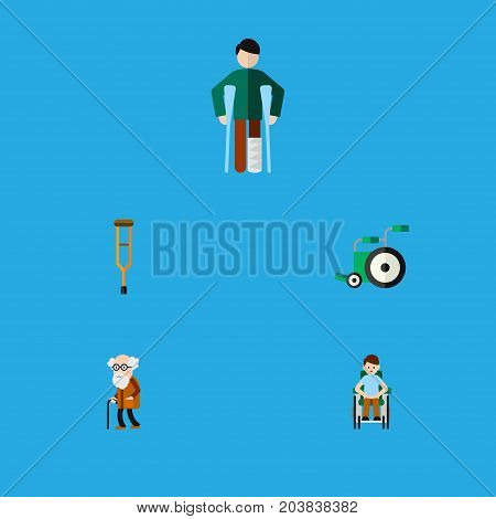 Flat Icon Cripple Set Of Ancestor, Injured, Equipment And Other Vector Objects