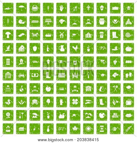 100 farm icons set in grunge style green color isolated on white background vector illustration