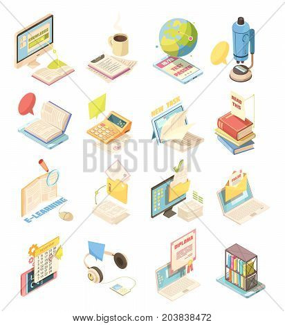 E-learning set of isometric icons with laptop, tutorials, diploma, test, audio books, calculator isolated vector illustration