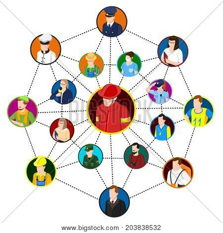 Network for professional conceptual composition with social networking graph and circle avatars connected by dashed lines vector illustration