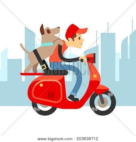 Travel with pets - young man on moto with dog and city landscape. Boy with dog on moped ride, vector illustration