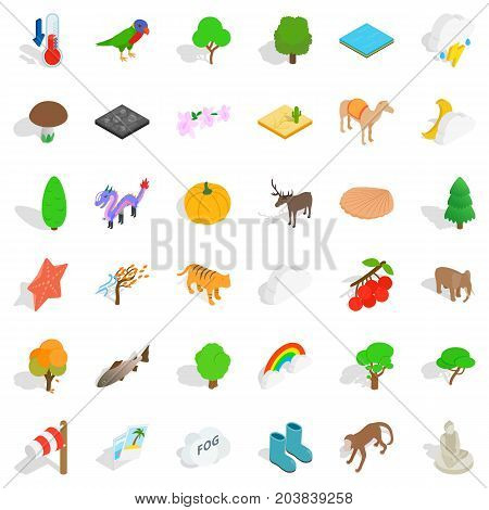 Jungle icons set. Isometric style of 36 jungle vector icons for web isolated on white background