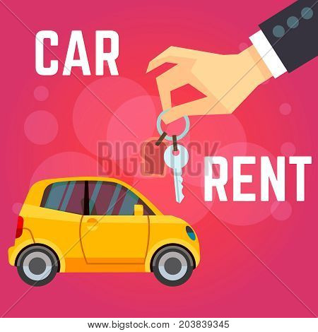 Car rent vector illustration. Flat-style yellow car, hand holding keys. Flat style on red background. Banner car rent business, automobile service