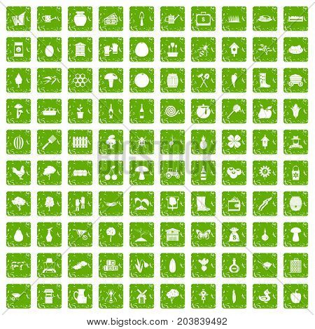 100 farming icons set in grunge style green color isolated on white background vector illustration