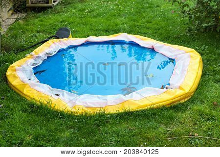 Little swimming pool deflated at the end of summer