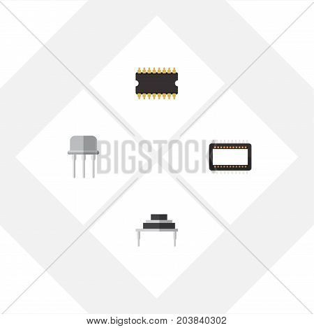 Flat Icon Technology Set Of Microprocessor, Mainframe, Destination And Other Vector Objects