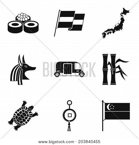 Old culture icons set. Simple set of 9 old culture vector icons for web isolated on white background