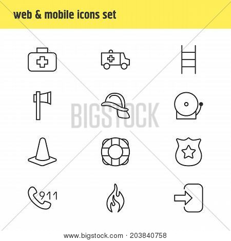 Editable Pack Of Stairs, Lifesaver, Hardhat And Other Elements.  Vector Illustration Of 12 Necessity Icons.