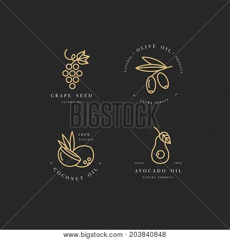 Vector set of packaging design templates golden icon and emblems in linear style - beauty and cosmetics oils - coconut, avocado, olive and grape seed
