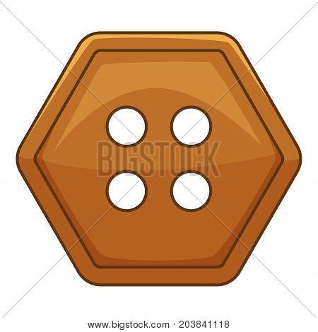 Brown cloth button icon. Cartoon illustration of brown cloth button vector icon for web