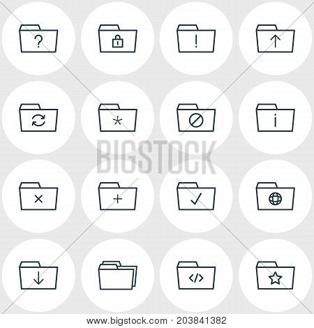 Editable Pack Of Dossier, Recovery, Significant And Other Elements.  Vector Illustration Of 16 Document Icons.