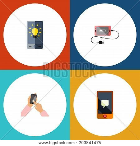 Flat Icon Touchscreen Set Of Interactive Display, Accumulator, Screen And Other Vector Objects