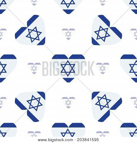 Israel Flag Patriotic Seamless Pattern. National Flag In The Shape Of Heart. Vector Illustration.
