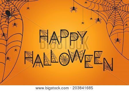 Halloween orange background with spiderweb and spiders. Happy Holiday. Vector illustration.