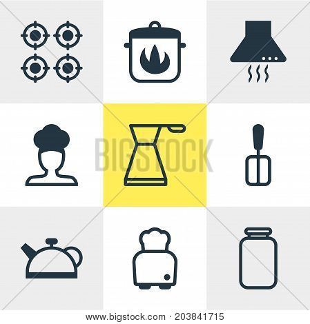 Editable Pack Of Kettle, Can, Extractor Appliance And Other Elements.  Vector Illustration Of 9 Cooking Icons.