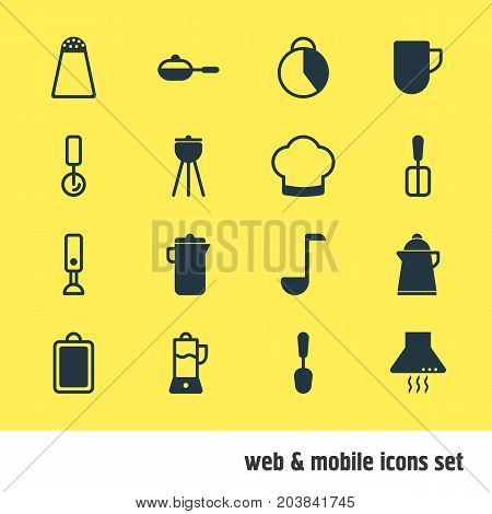 Editable Pack Of Cooking Spade, Fruit Squeezer, Timekeeper And Other Elements.  Vector Illustration Of 16 Kitchenware Icons.