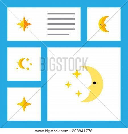 Flat Icon Midnight Set Of Bedtime, Nighttime, Moon And Other Vector Objects