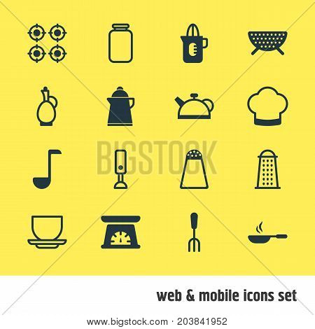 Editable Pack Of Furnace, Soup Spoon, Shaker And Other Elements.  Vector Illustration Of 16 Restaurant Icons.