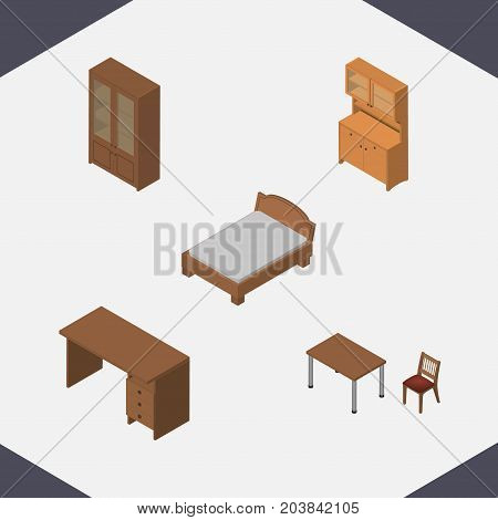 Isometric Furniture Set Of Cupboard, Chair, Bedstead And Other Vector Objects