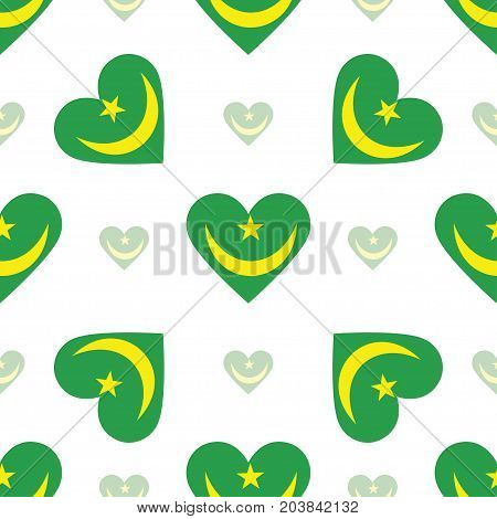 Mauritania Flag Patriotic Seamless Pattern. National Flag In The Shape Of Heart. Vector Illustration